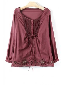 Knit Spliced Embroidery Long Sleeve Blouse