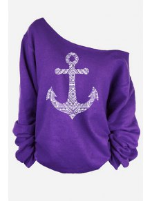 One-Shoulder Anchor Print T-Shirt