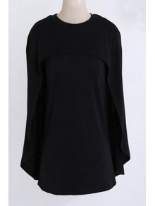 Jewel Neck Cape Design Black Sweater