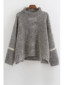 Zipper Turtle Neck Long Sleeves Jumper - Gray