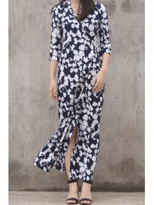 Floor-Length Floral Wrap Dress - Blue And White