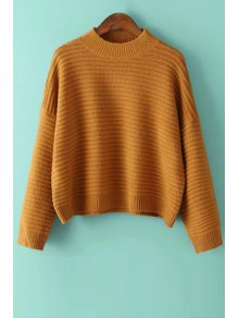 Solid Color Loose-Fitting Round Collar Batwing Sleeves Sweater