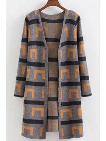 Geometric Pattern Long Sleeves Long Cardigan