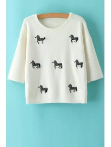 Animal Embroidery Print Round Collar 3/4 Sleeves Sweater