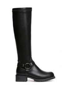 Metal Chunky Heel Black Knee-High Boots