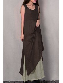 Two Piece Tank Dress - Brown Xl