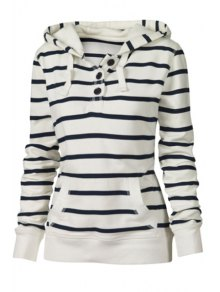 Drawstring Striped Hooded Neck Long Sleeves Sweatshirt