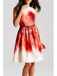 Sleeveless Large Floral Dress With Belt