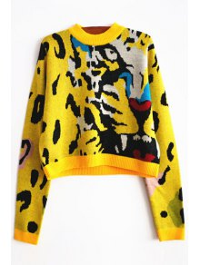 Tiger Pattern Round Neck Long Sleeve Jumper - Yellow L