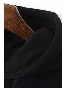 Applique Letter Print Hooded Neck Dress - BLACK XS