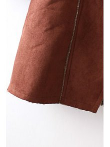 Angle Front Fleece Lining Suede Coat