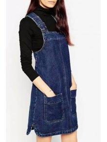 blue zippered denim suspender skirt blue skirts s zaful