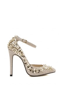 Flowers Sequined Rivets High Heel Pumps