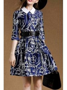 Belted A-Line Blue Dress