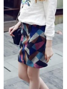 Geometric Pattern High Waisted Skirt
