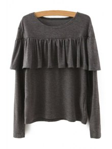 Tassels Spliced Long Sleeve T-Shirt - Khaki L