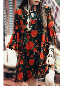 Red Floral 3/4 Sleeve Blouse