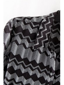 Zig Zag Turn Down Collar Long Sleeve Shirt - WHITE/BLACK S