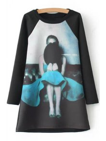 Figure Print Jewel Neck Long Sleeve Dress