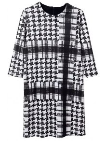 Houndstooth Round Neck 3/4 Sleeve Dress