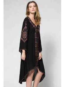 Plunging Neck Embroidered High-Low Hem Maxi Dress