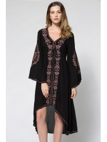 Embroidered High-Low Hem Maxi Dress