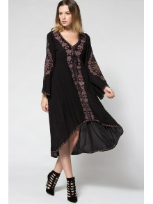 Plunging Neck Embroidered High-Low Hem Maxi Dress - BLACK S