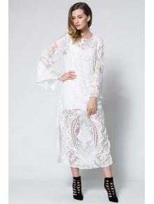 Long Sleeve Crochet Flower Open Back Maxi Dress - WHITE S