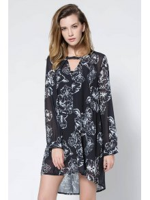 Floral Print V Neck Long Sleeve Blouse