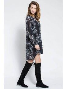 Floral Print V Neck Long Sleeve Blouse - BLACK S
