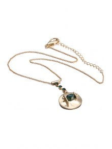 Rhinestone Round Pendant Necklace For Women - GOLDEN