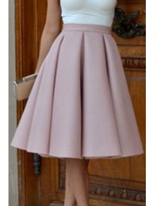 A-Line Solid Color Midi Skirt - Pink M