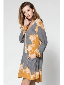 Floral Print Spliced Pocket Loose-Fitting Dress - YELLOW S