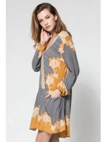 Long Sleeve Floral Surplice Dress - YELLOW S