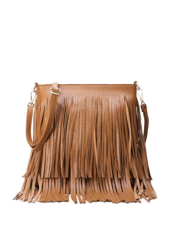 women's Fringe PU Leather Pure Color Crossbody Bag - BROWN