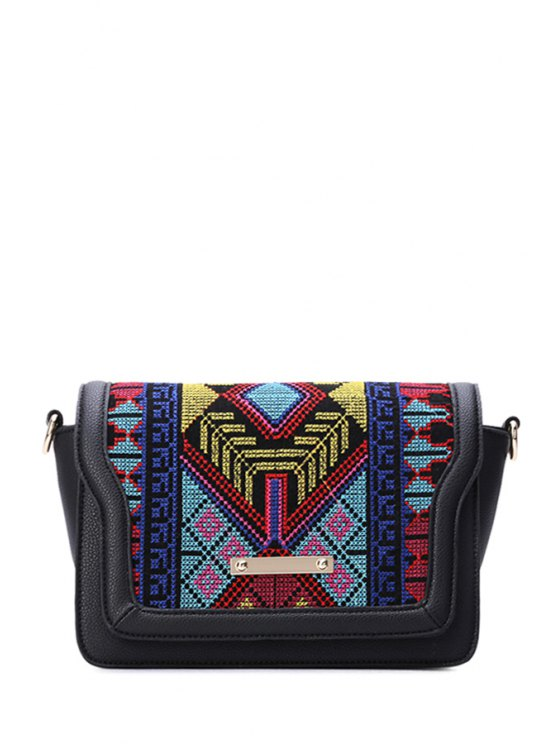 lady Embroidery Color Matching Cover Crossbody Bag - BLACK