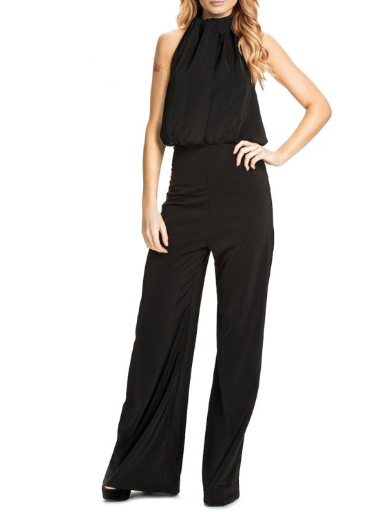 buy Halter Backless Black Palazzo Jumpsuit - BLACK S