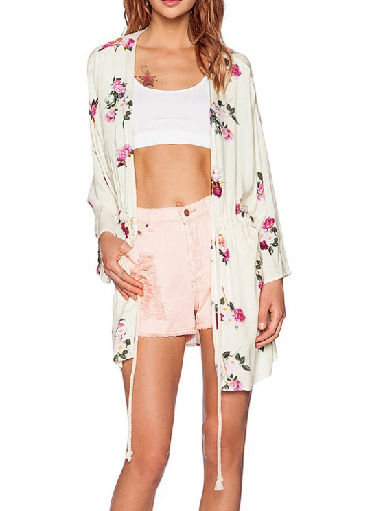 sale Floral Print Drawstring Trench Coat - OFF-WHITE XS