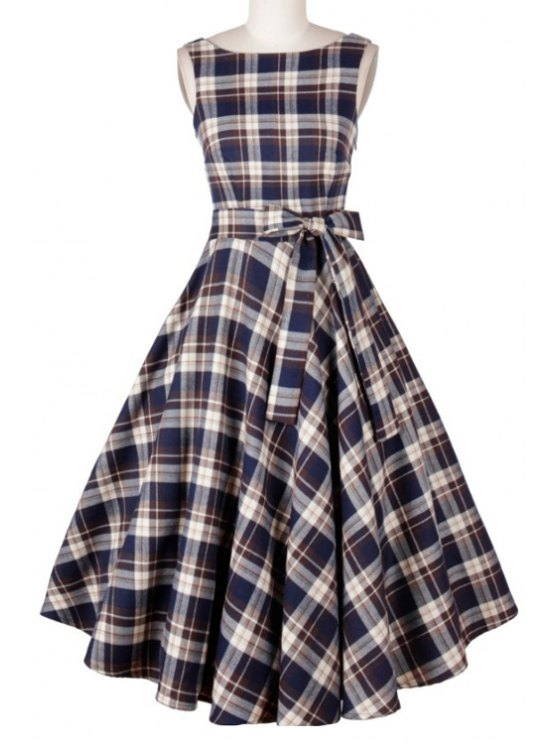 fashion Plaid Print Pleated Slash Neck Sleeveless Dress - BLUE S