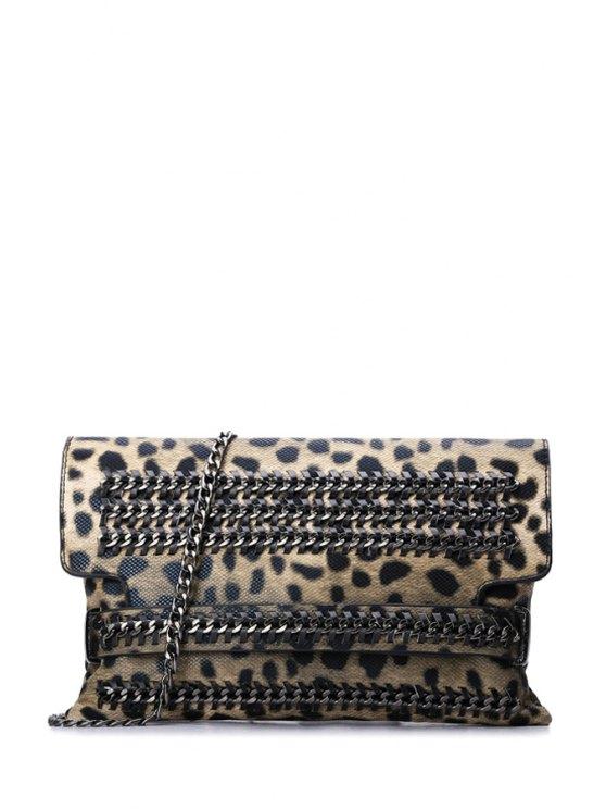 online Chains Cover Leopard Print Crossbody Bag - LEOPARD