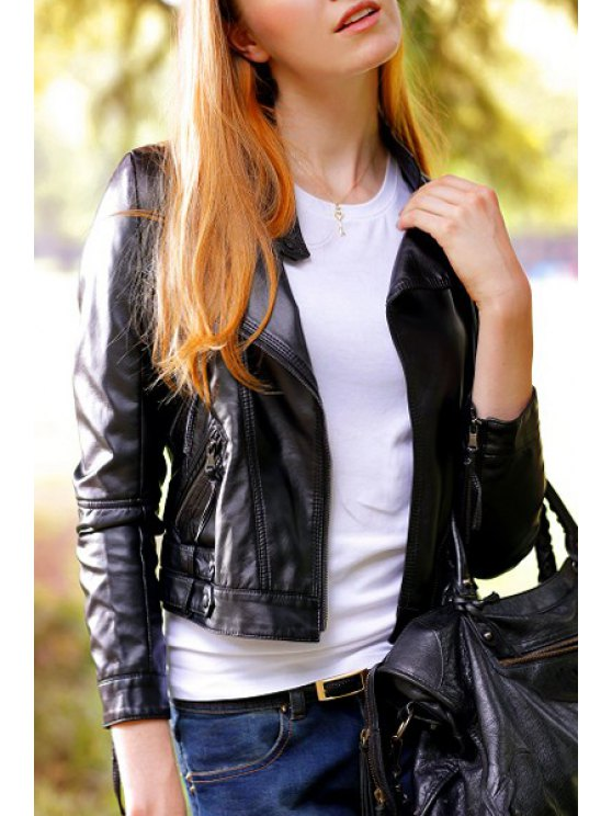 sale Solid Color PU Leather Chic Stand Collar Jacket - BLACK S