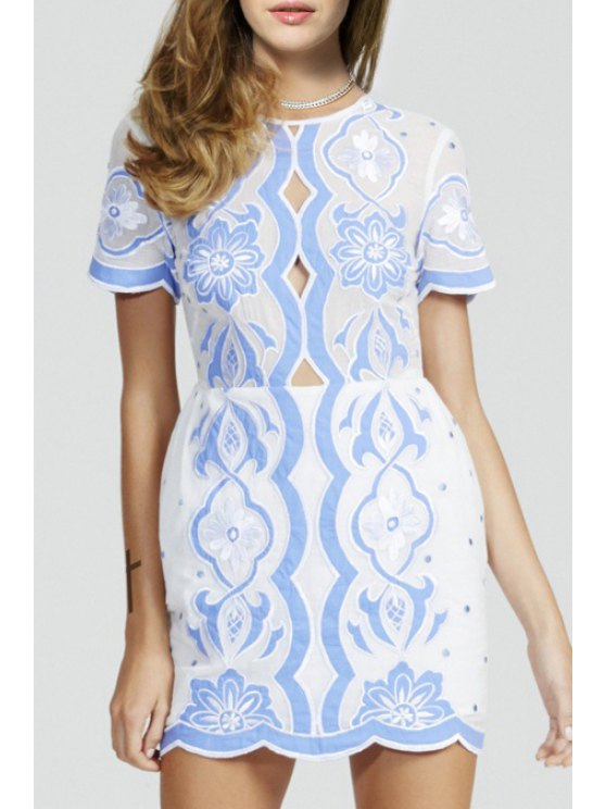 sale Embroidered Blue and White Dress - WHITE S