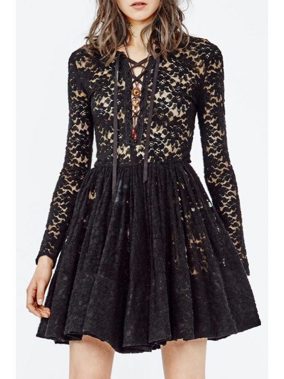 fashion Plunging Neck Openwork Lace Hook Dress - BLACK S