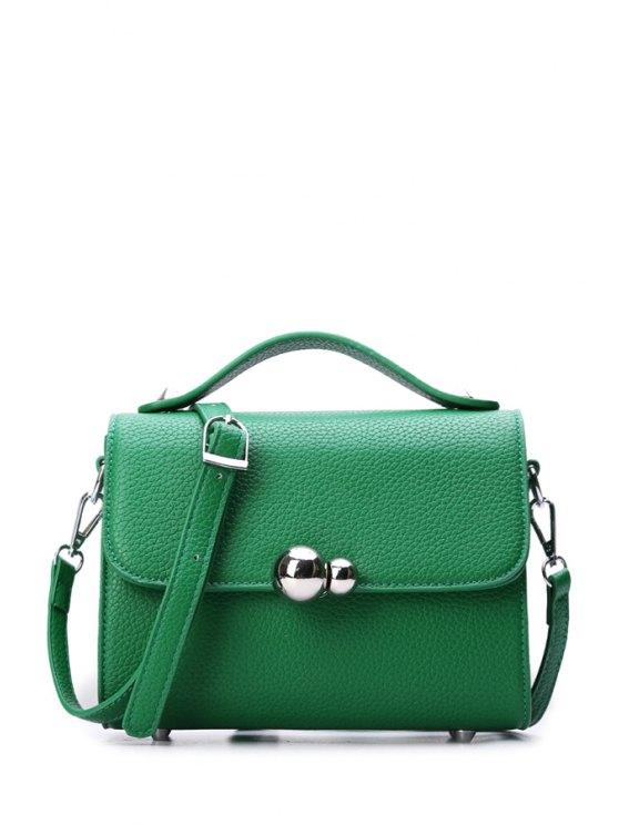 new Metal Pure Color Embossing Crossbody Bag - GREEN