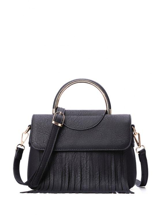 shops Fringe Black Cover Tote Bag - BLACK