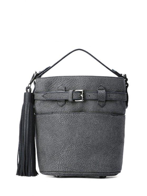 latest Tassel Embossing Buckle Tote Bag - BLACK