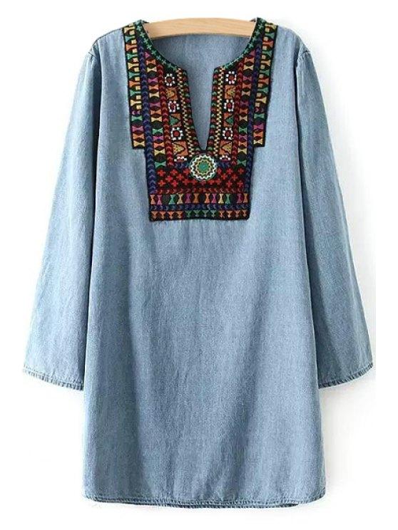 lady Embroidery Spliced V Neck Long Sleeve Dress - BLUE S