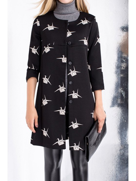 outfits Paper Crane Single-Breasted Trench Coat - BLACK S