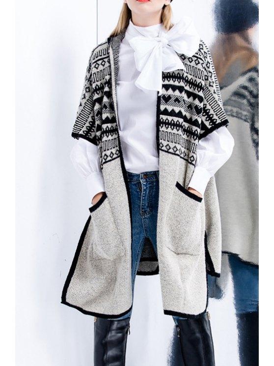 affordable Hooded Big Pockets Side Slit Cardigan - KHAKI S