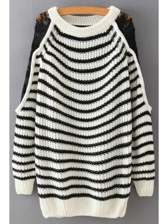 shop Striped Lace Spliced Long Sleeve Jumper - WHITE AND BLACK ONE SIZE(FIT SIZE XS TO M)